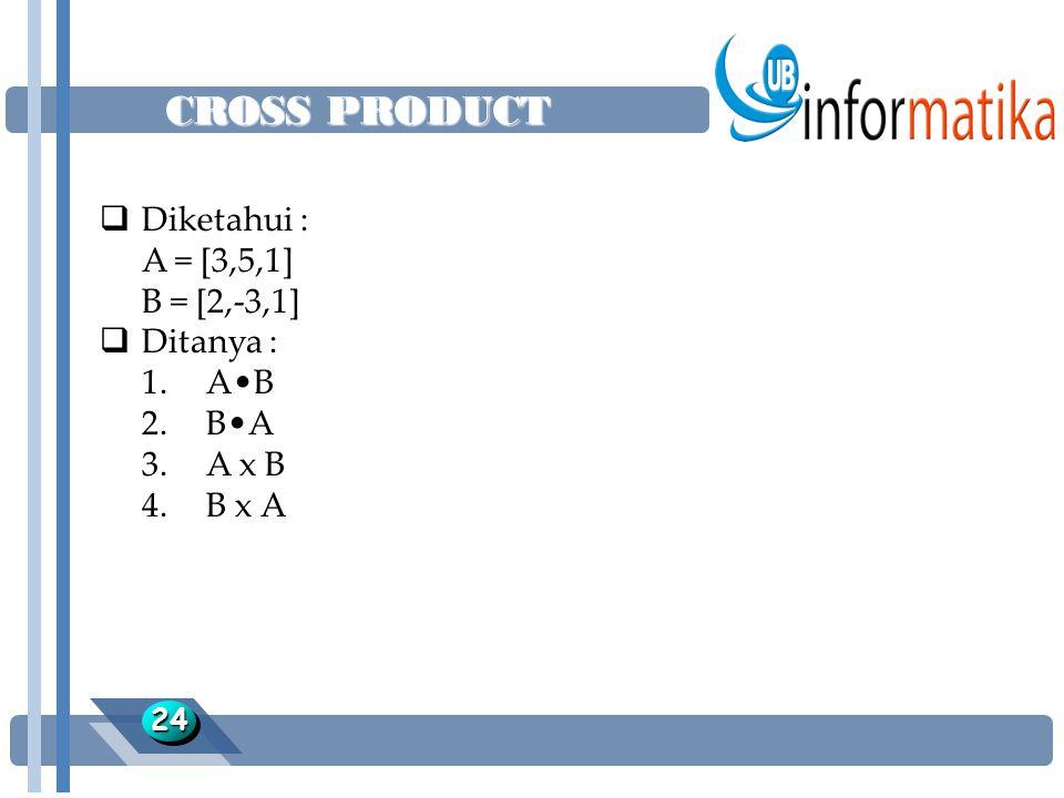 CROSS PRODUCT Diketahui : A = [3,5,1] B = [2,-3,1] Ditanya : 1. A•B